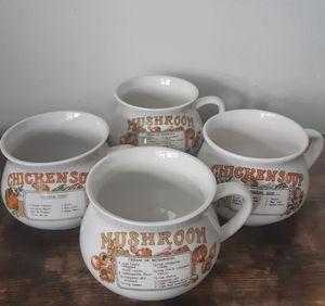 Set of 4 Vintage Soup Porcelain Bowls